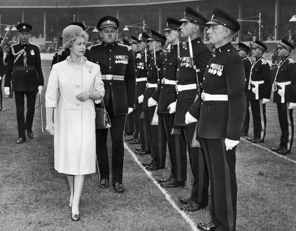 The Queen inspects troops at Belle Vue stadium, May 1961