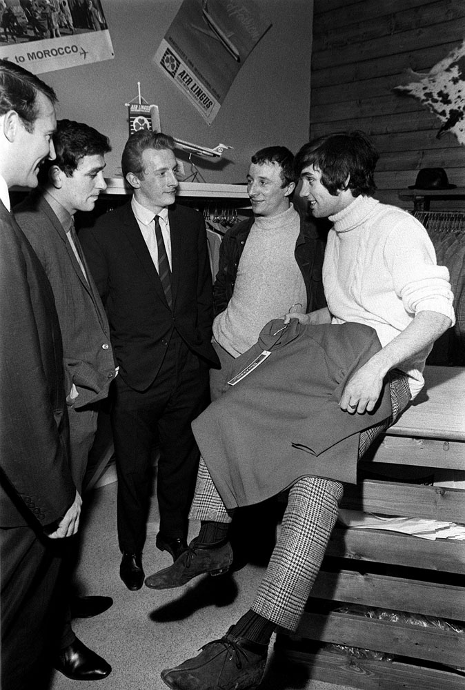 Denis Law, centre, at the opening of George Best's boutique in Sale, March 1966