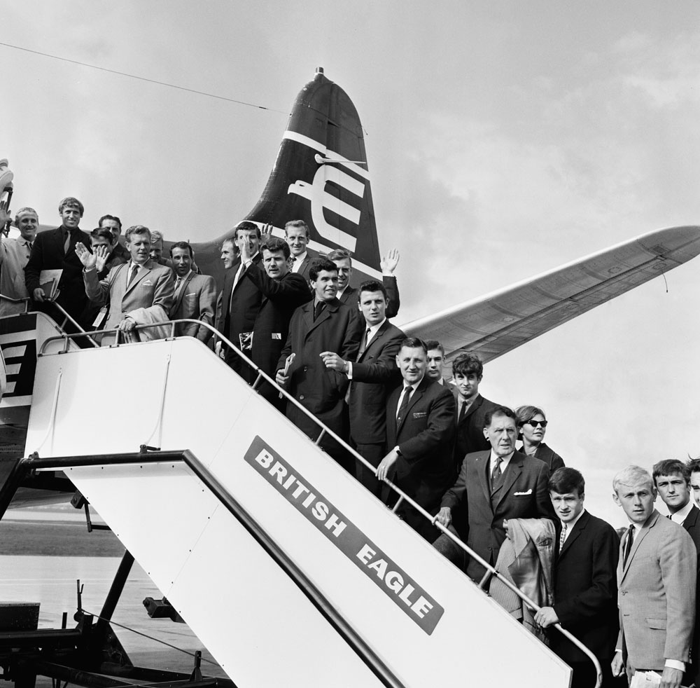 Everton FC leaving Speke airport for a pre-season friendly in Oslo, August 1965
