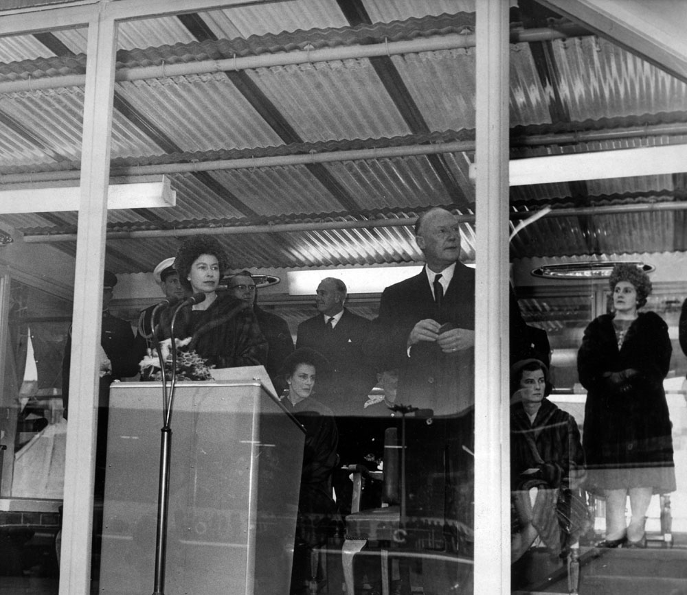 Langton River Entrance is officially opened by the Queen, December 1962