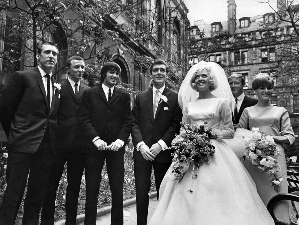 Footballers at the wedding of City player Matt Gray and Rita Simmons, May 1967