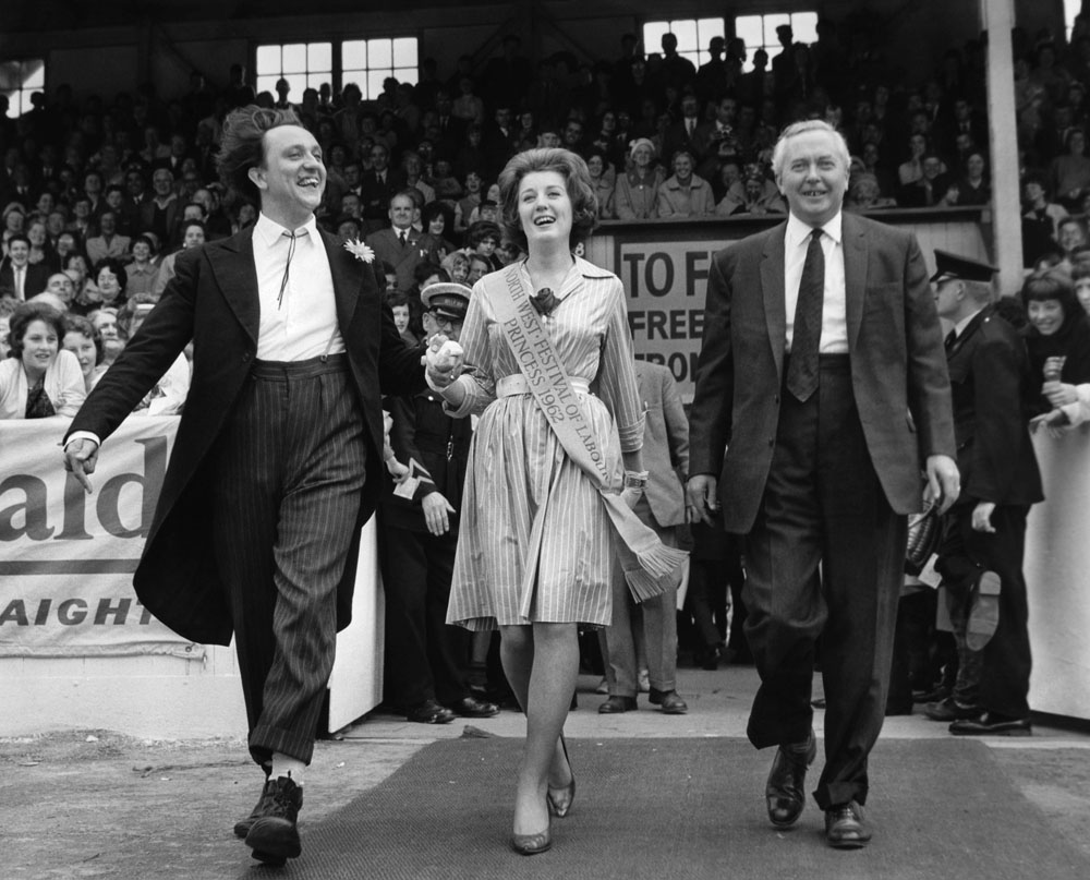Ken Dodd, Festival of Labour Princess Sandra Farmer and Harold Wilson at Belle Vue, July 1962