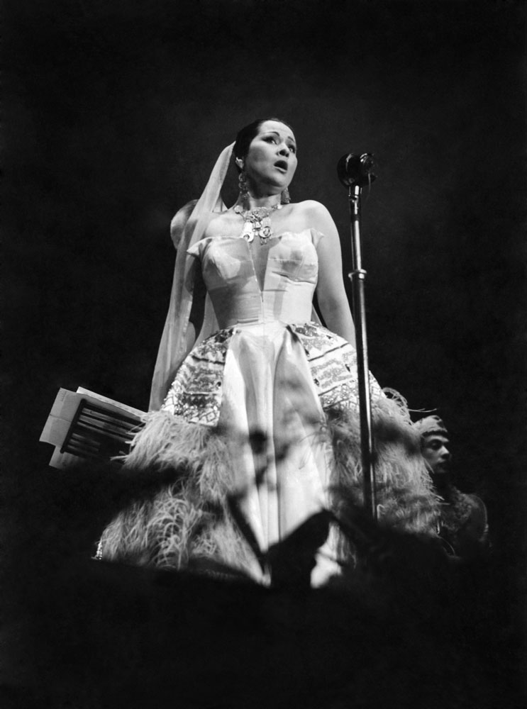 Opera singer Yma Sumac performs at the Kings Hall, Belle Vue, June 1952