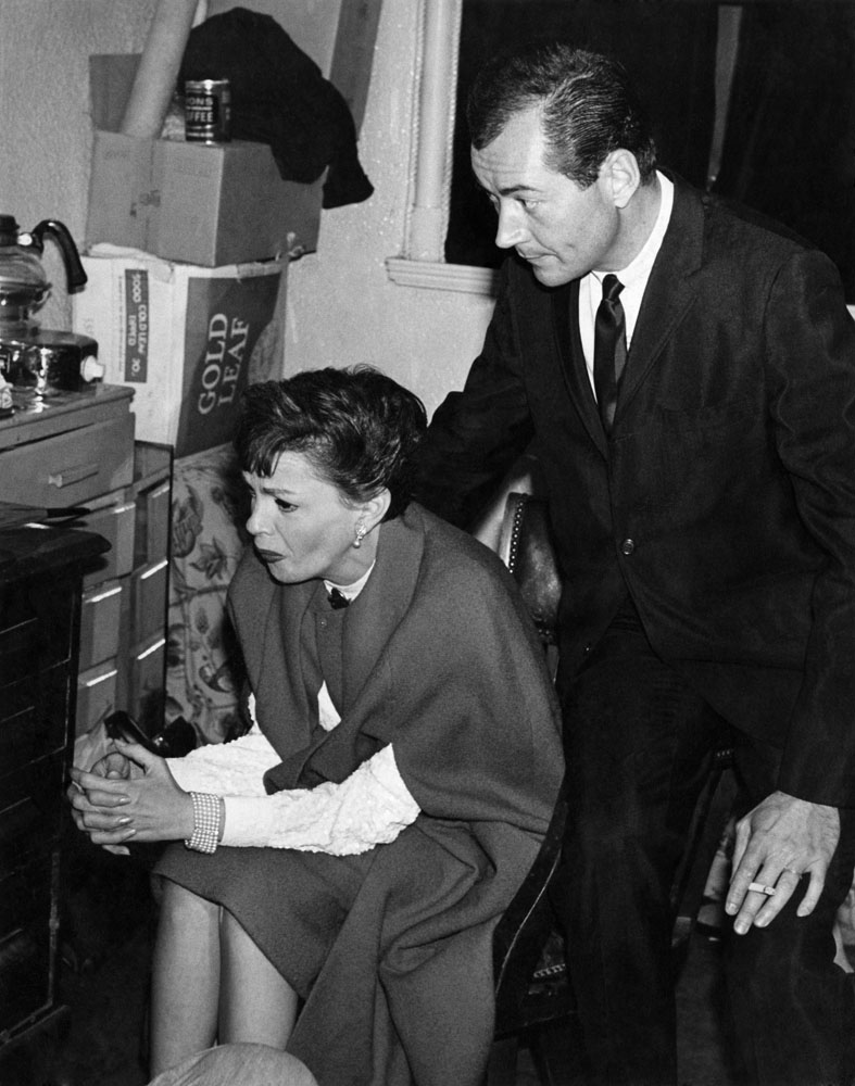 Judy Garland and husband Mark Herron backstage at the Palace Theatre, August 1964