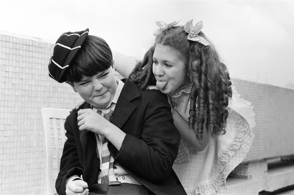 Bonnie Langford and Adrian Dannatt in the TV series Just William, September 1976