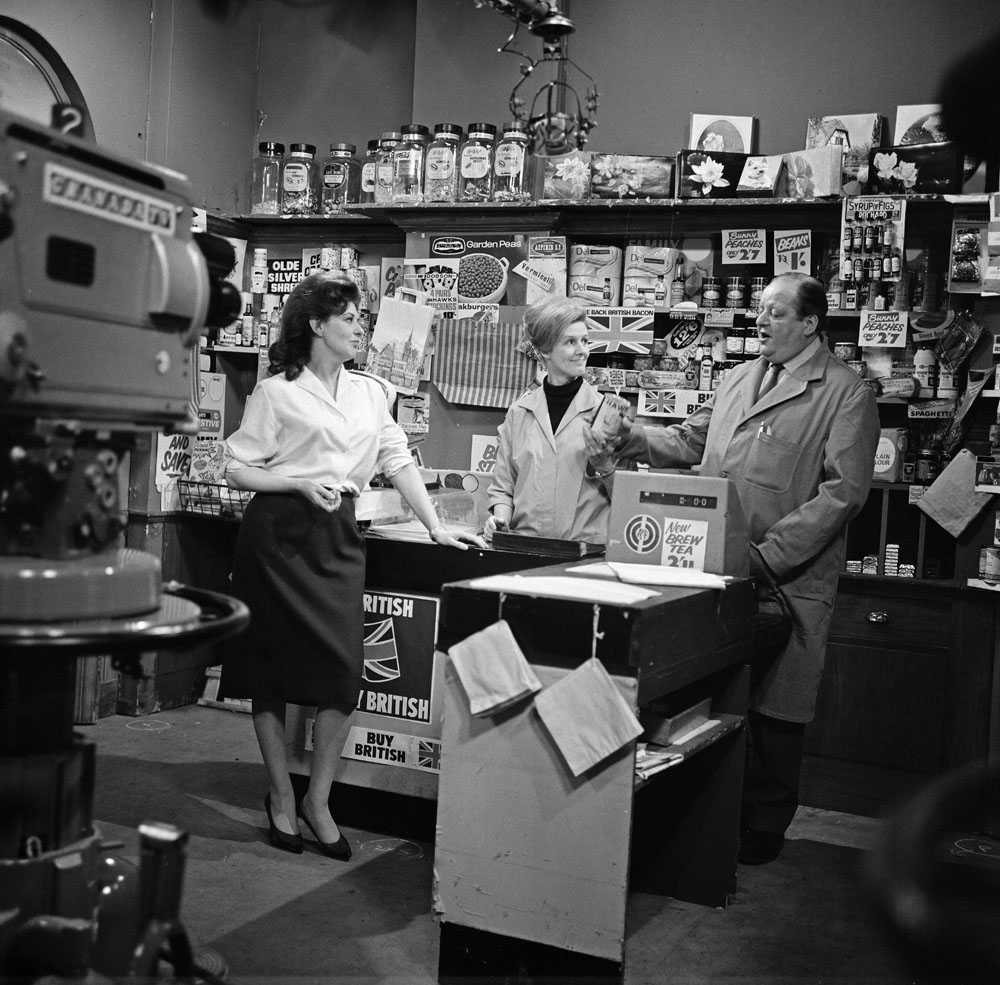 Corner-shop owners Des and Maggie Clegg (Irene Sutcliffe and John Sharp) in April 1968