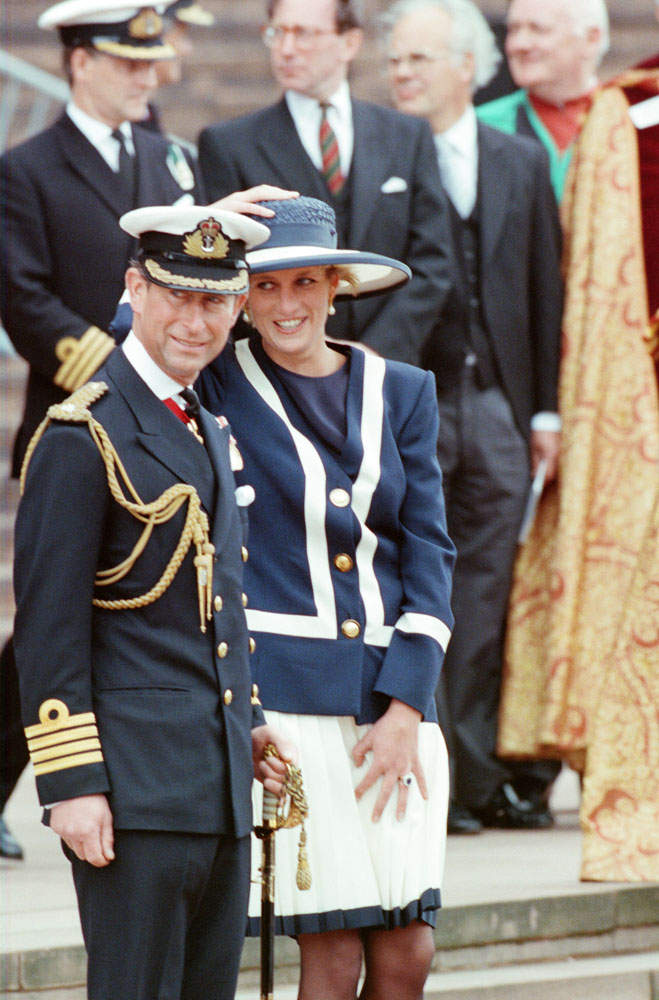 Charles and Diana at a windy Battle of the Atlantic service, May 1993