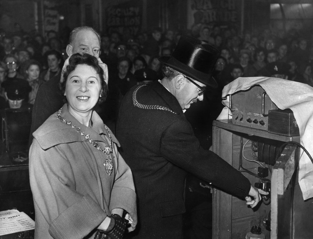 Liverpool's Lord Mayor Harry Livermore turns on the city's festive lights, December 1958