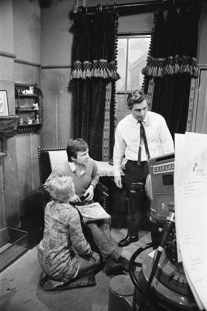 Mitzi Rogers and Philip Lowrie run through their lines with director Tim Jones, April 1968