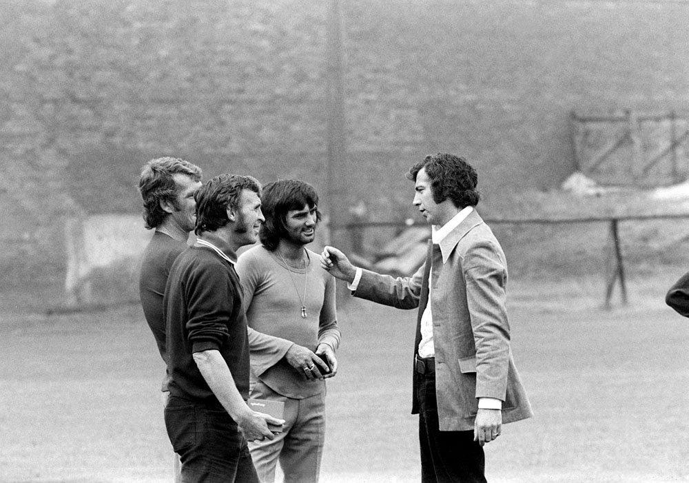 David Sadler chatting to Best and Stepney, July 1972
