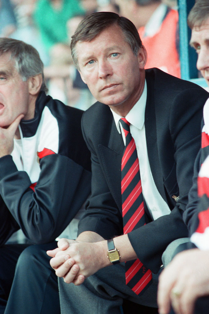 Alex Ferguson watches anxiously as City beat United 5-1, September 1989