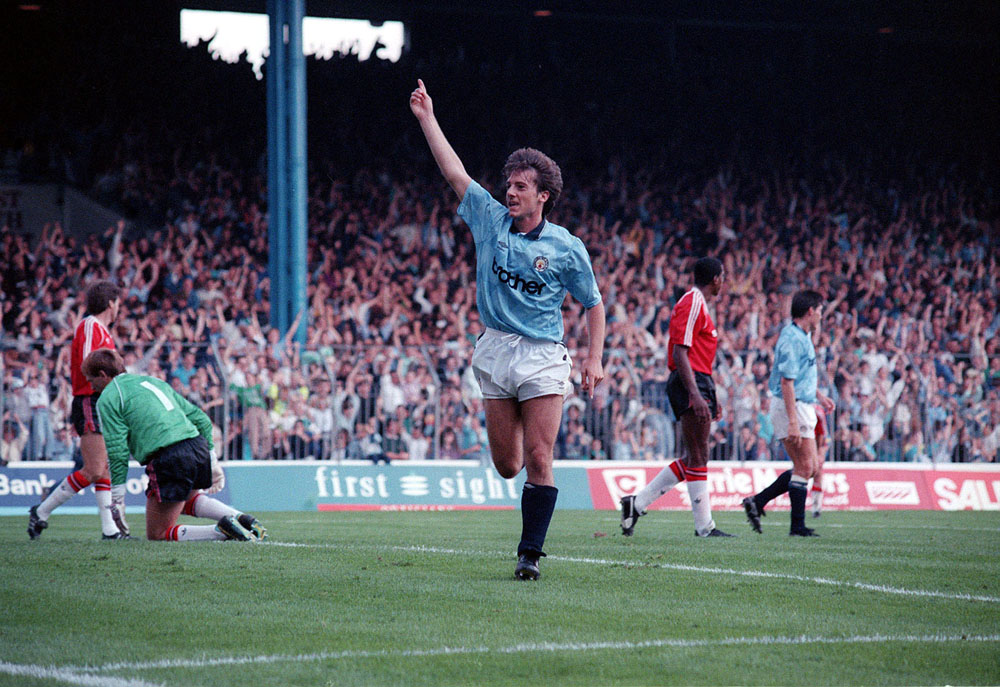 Ian Bishop on target for City against United, September 1989