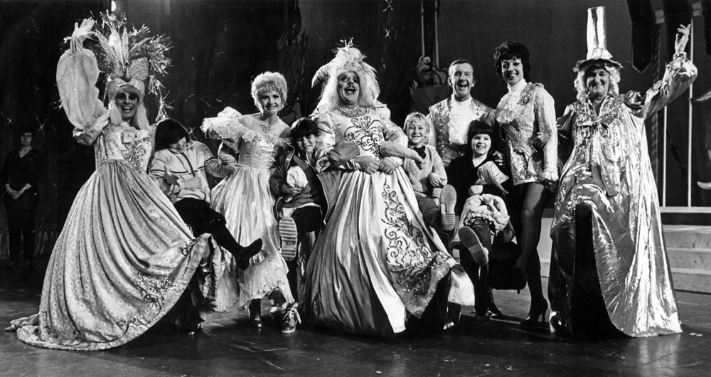 The cast of Cinderella including Norman Vaughan, Windsor Davies and Melvyn Hayes, February 1982