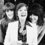 Liver Bird stars Polly James, left, and Nerys Hughes present Cilla Black with the Pye Comedy trophy, May 1975