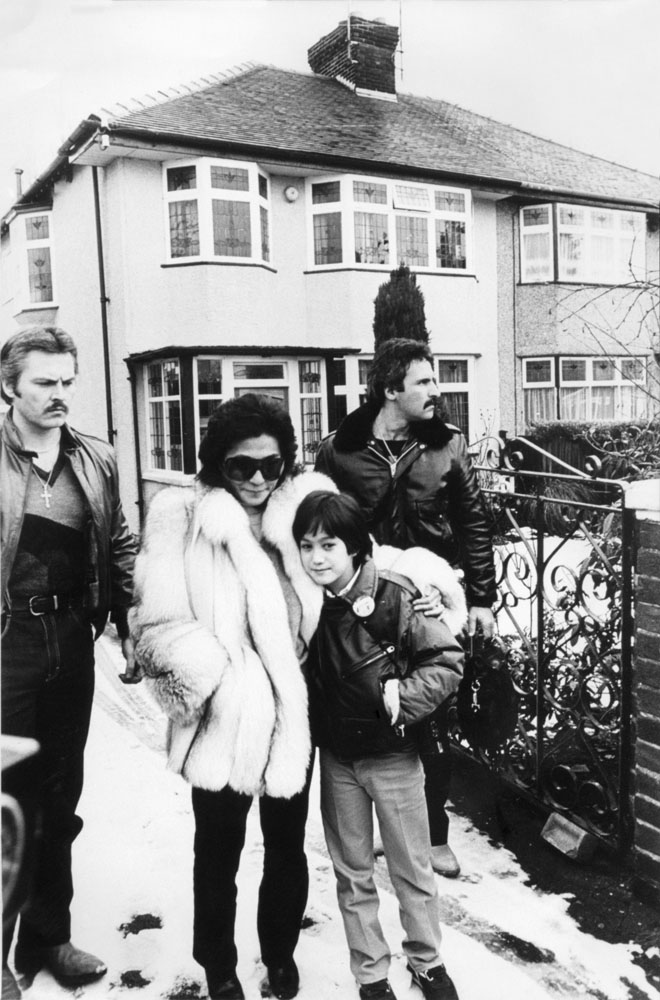 Yoko Ono and son Sean visit John Lennon's childhood home at 251 Menlove Avenue, Woolton, January 1984