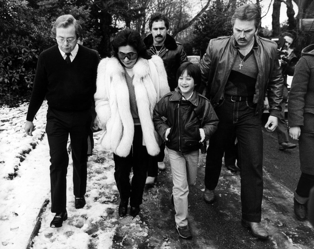 Sean Lennon and mother Yoko Ono at the Strawberry Field children's home, Woolton, January 1984