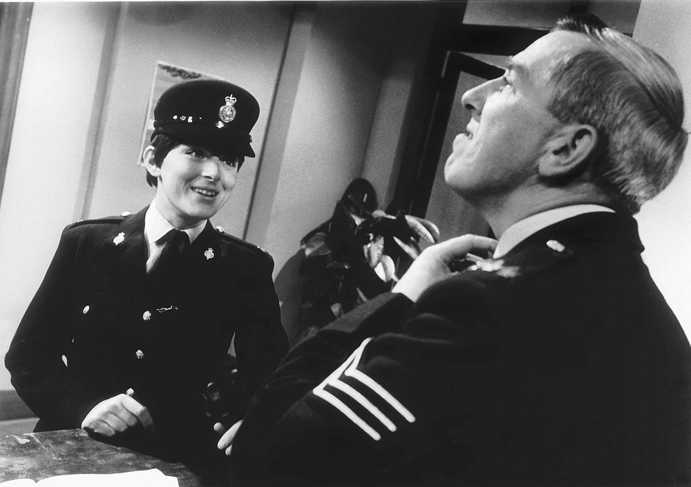 Sue Jameson (WPC Nelson) on the Z-Cars set with Robert Keegan (Sgt Blackitt), May 1965