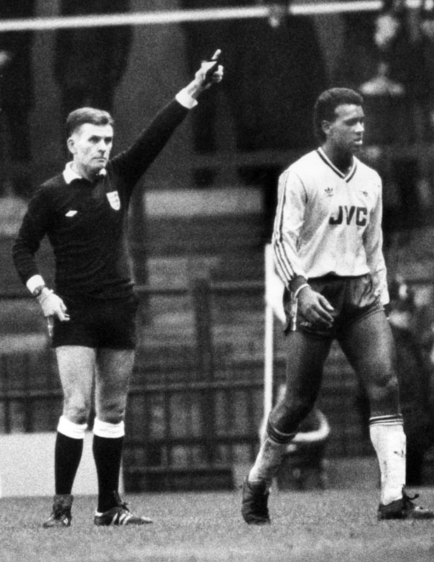 Arsenal's David Rocastle is sent off at Old Trafford, January 1987