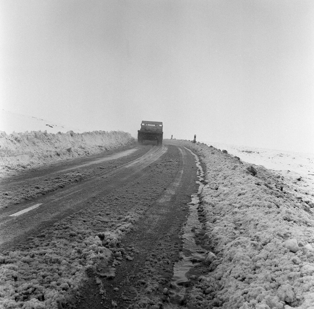A bleak Saddleworth Moor in the icy grip of winter, April 1966