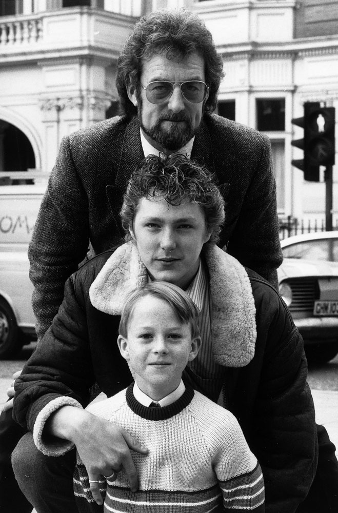 Bernard Hill in the TV film John Lennon: A Journey in the Life with co-stars Tim McEvoy and Benji Lounsbach, November 1985