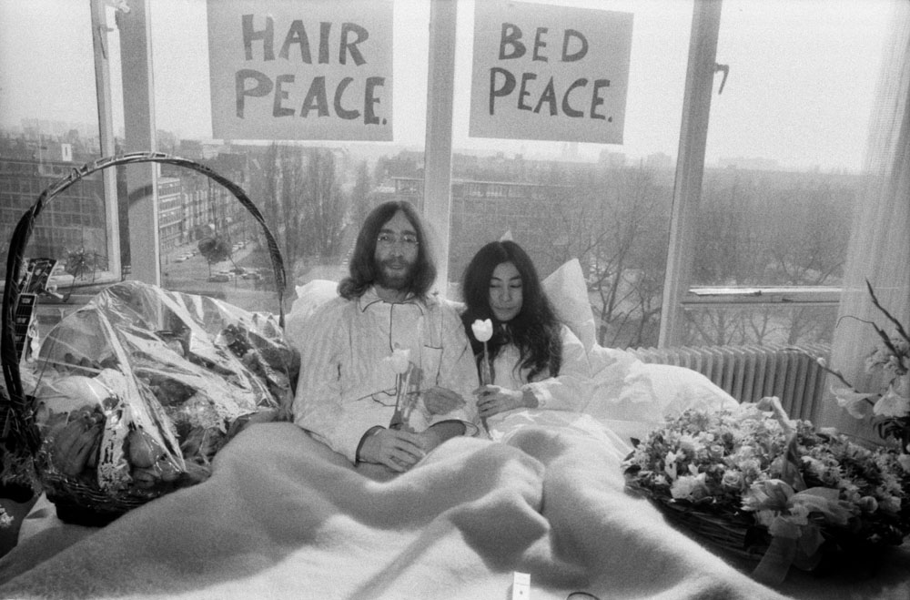 Peaceful protest: John Lennon and Yoko Ono during their Bed-In at the Amsterdam Hilton, March 1969