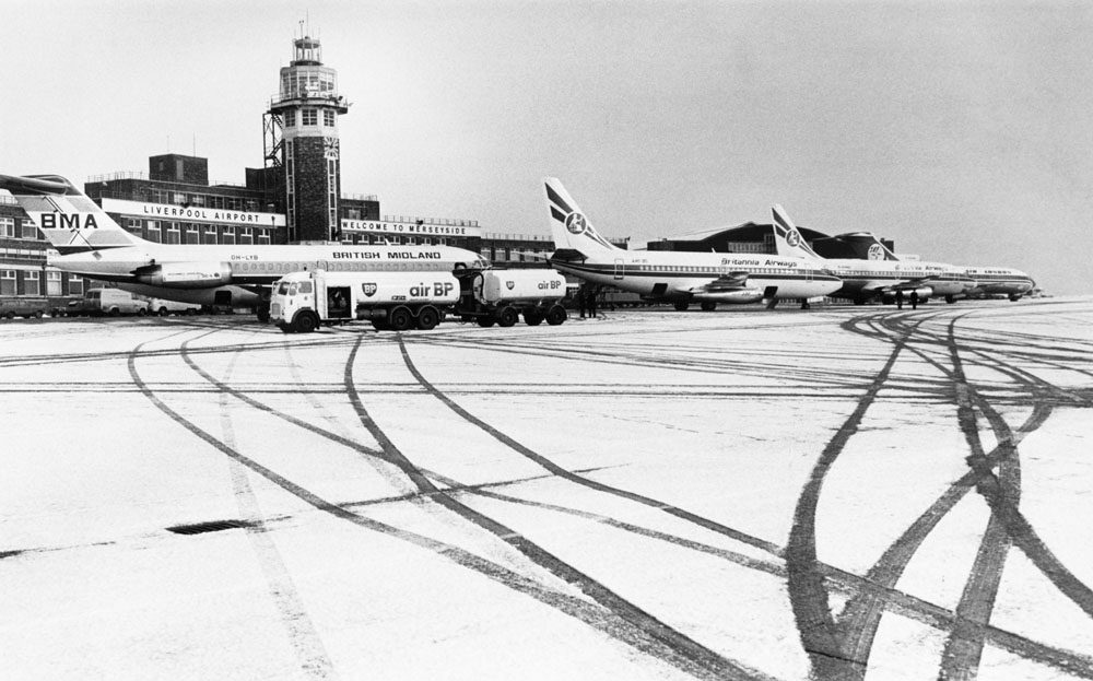 Planes leave tracks in the snow at Liverpool's Speke Airport, January 1979