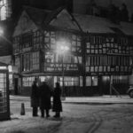 Wintry scene at the Old Shambles in Manchester, January 1955