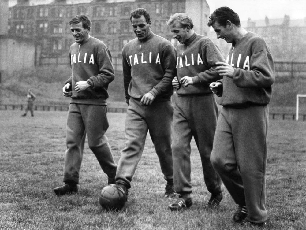 Denis Law, second right, lines up with Gerry Hitchens, John Charles and Joe Baker who all play in Italy, November 1961