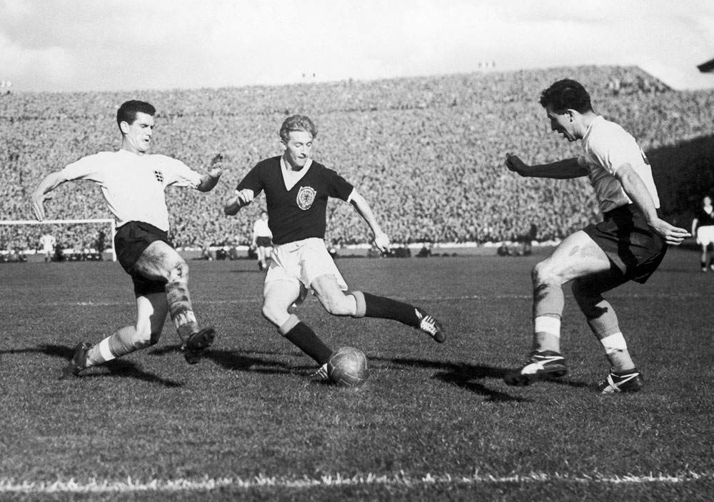 Denis Law in action in Scotland's 1-1 draw against England at Hampden Park, May 1960