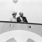 The Queen on the bridge of the Yellow Submarine at Liverpool's International Garden Festival, May 1984