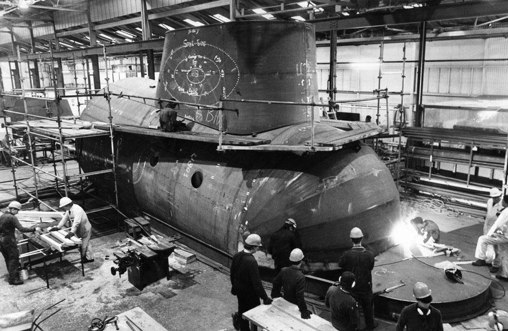 Sparks fly as the Yellow Submarine is constructed at Cammell Laird, February 1984