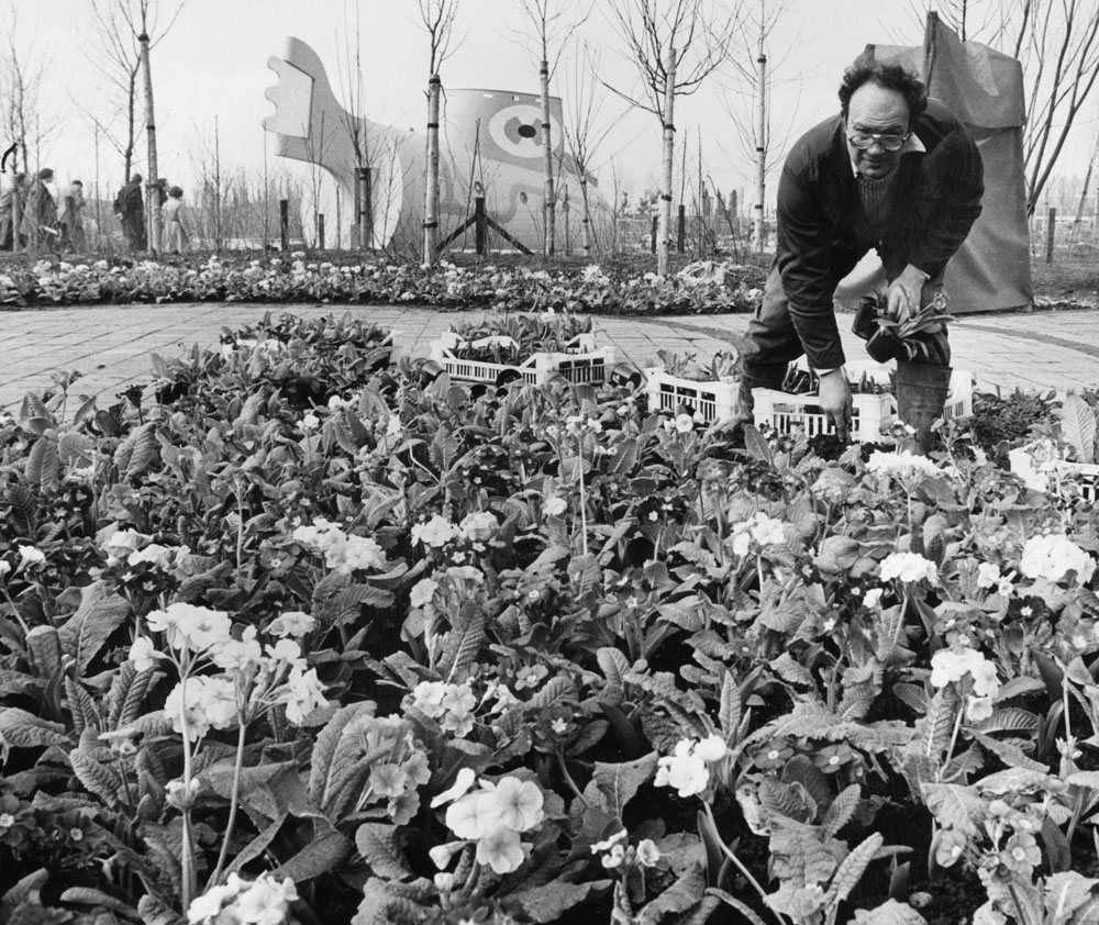 Bill Hughes of Crosby plants flowers in the Sefton Metropolitan Council garden with the Yellow Submarine in the background, March 1984