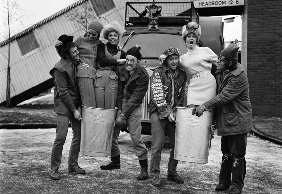 The cast of The Dustbinmen help launch a charity fashion show, December 1969