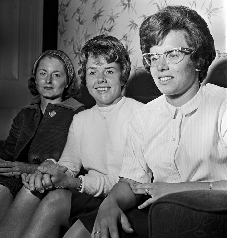 Tennis stars Nancy Richey, Carole Caldwell and Billie Jean King at their Manchester hotel, June 1964
