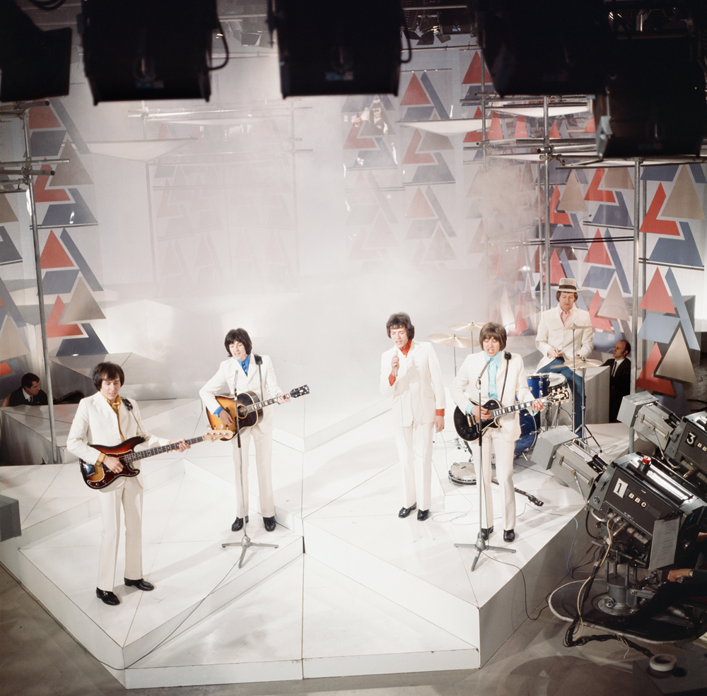 The Hollies on Top of the Pops with Terry Sylvester second left, May 1969