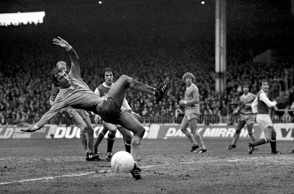 Trevor Francis in action for City against Arsenal, March 1982