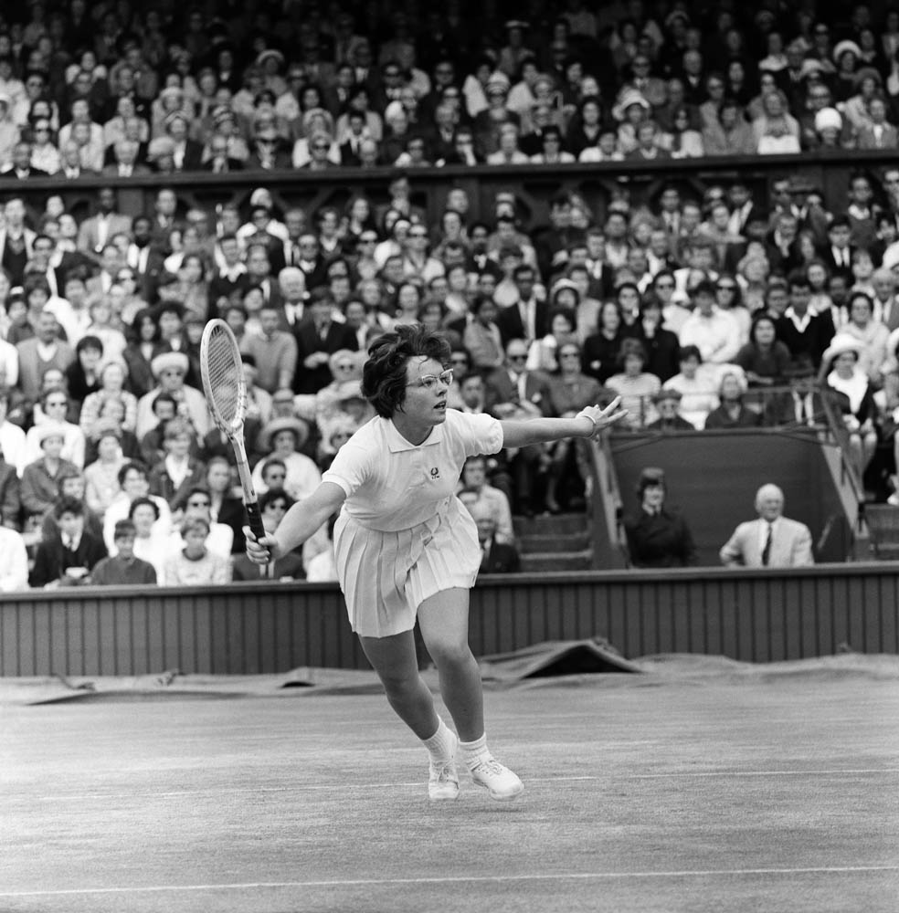 Billie Jean King in action against Margaret Court, July 1963