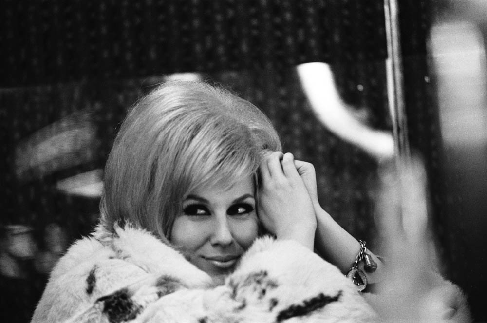 Dusty Springfield in furs after her single I Only Want to Be with You hits the charts, December 1963