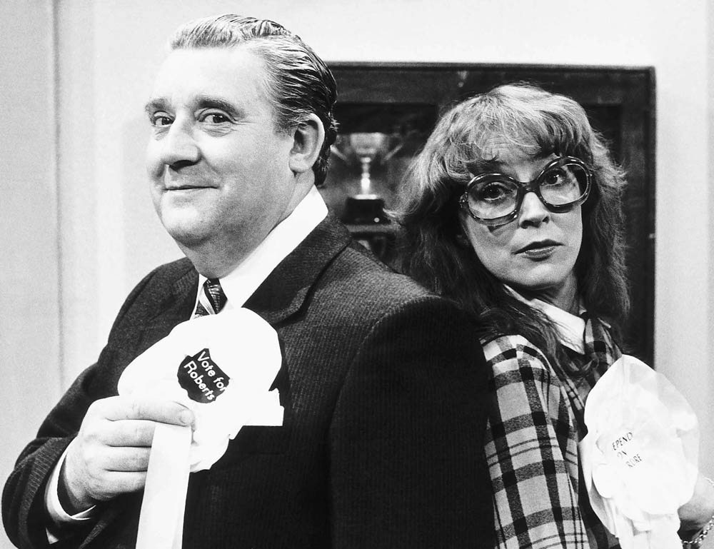Bryan Mosley, who appeared in The Dustbinmen, contests an election with Anne Kirkbride in Coronation Street, May 1987