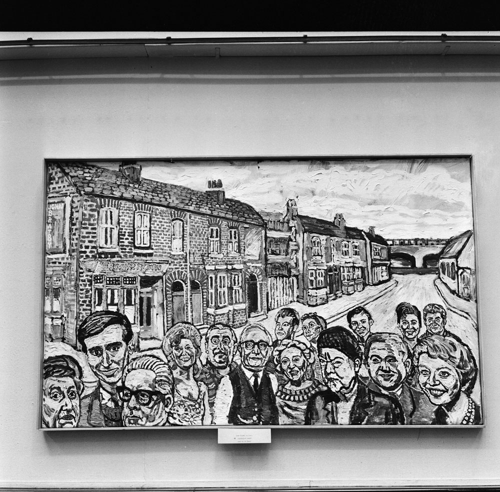 Close-up of the Coronation Street mural by artist John Bratby, February 1966