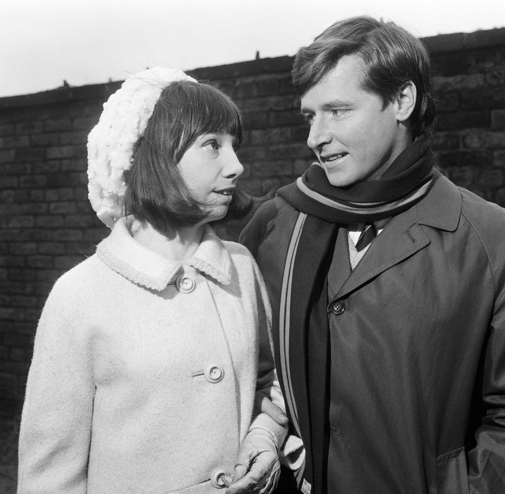 Ken Barlow (William Roache) with girlfriend Jackie Marsh (Pamela Craig), January 1966