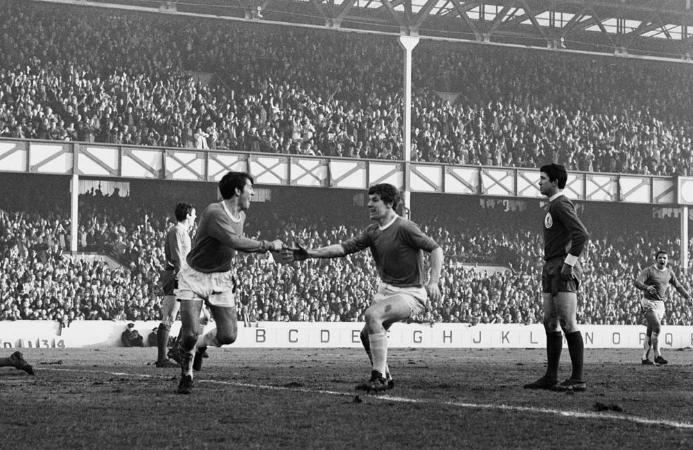 Howard Kendall, left, celebrates with Joe Royle after scoring against Liverpool, March 1968