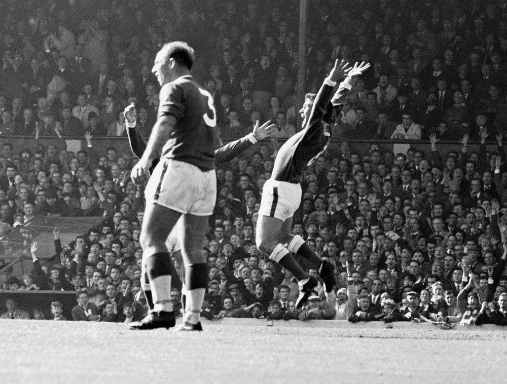 Colin Harvey in jubilant mood after scoring in the 4-0 win over Liverpool at Anfield, September 1964