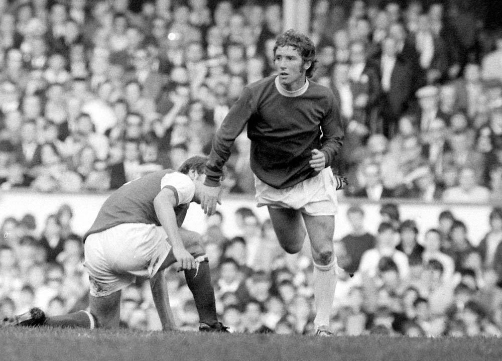 Midfielder Alan Ball in action for Everton against Arsenal at Highbury, October 1970