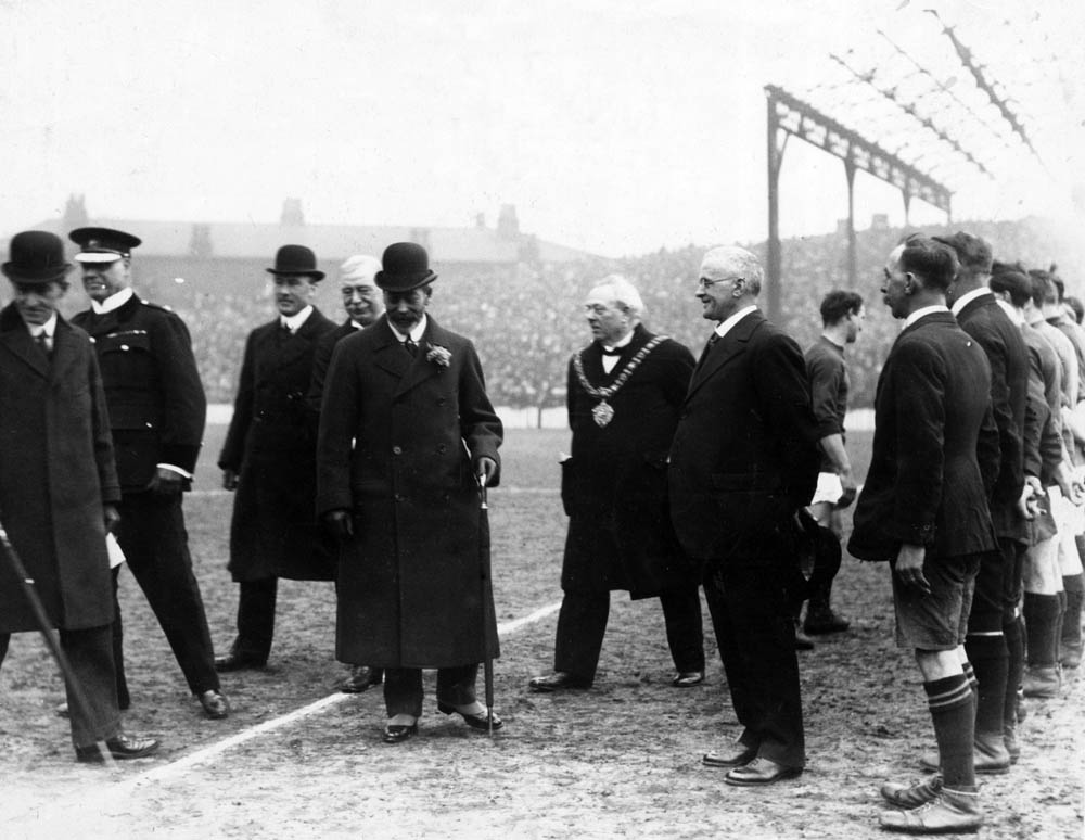 King George V meets players at Manchester City's Hyde Road stadium, March 1920