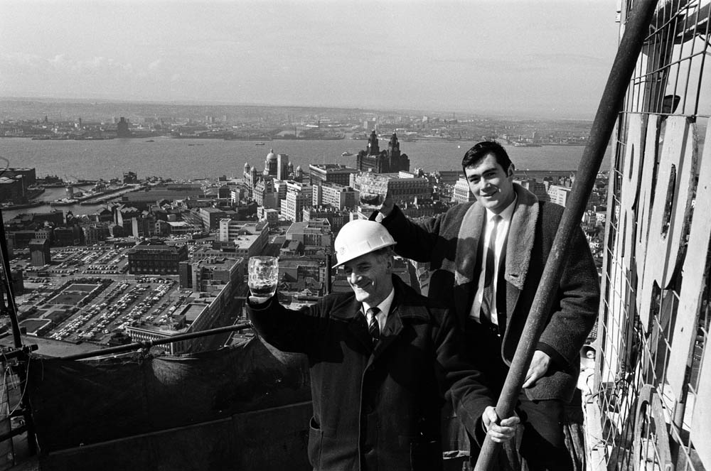 Pat O'Connor and David Lewis at the St. John's Beacon topping out ceremony, March 1967