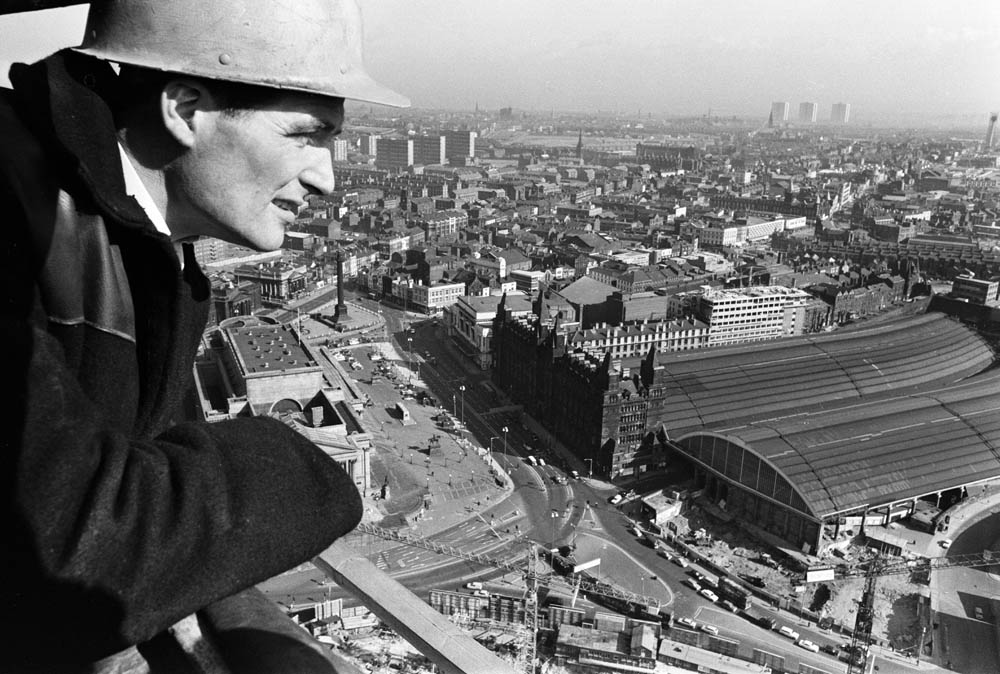 John Jones looks out over Lime Street station, March 1967