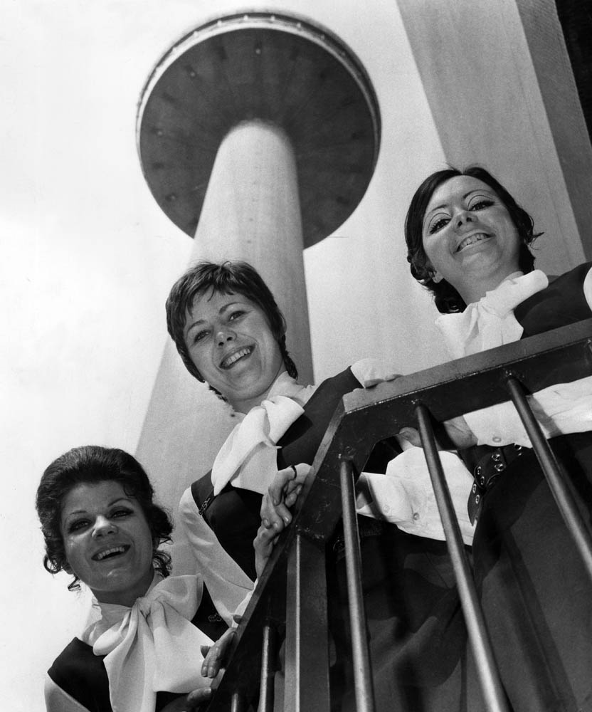 Tower hostesses Cherrie Threthewy, Jackie Downes and Pat Kelly, March 1971