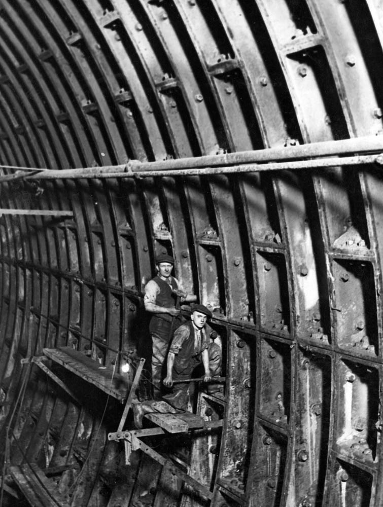 Construction workers in the Queensway Tunnel, December 1929
