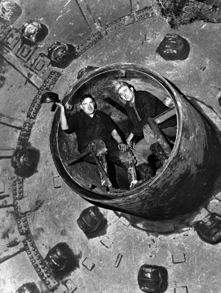 The men who made the final push between the pilot tunnels from Birkenhead and Liverpool to create the Kingsway Tunnel, March 1970